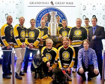 The Vancouver Eclipse Blind Hockey Club (Dylan Brown pictured top row, far right)