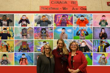 Dr. Natalie LeBlanc, Ms. Allison Diesvelt, Dr. Rita Irwin in front of the UBC Artist-in-residence project at Pierre Trudeau Elementary School