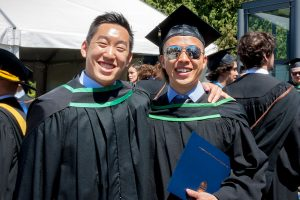2017 School of Kinesiology graduates Jonathan Kim and Clarence Le.