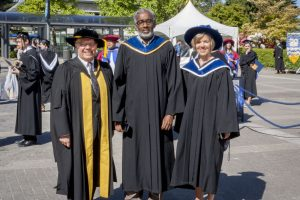 Dr. Blye Frank, Dean, Faculty of Education, with Dr. Ali Abdi, Head, Department of Educational Studies, and Dr. Wendy Carr, Associate Dean, Teacher Education.