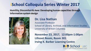 Colloquium Winter 2017 – Dr. Lisa Nathan