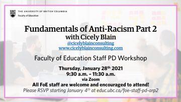 FoE Staff Professional Development Workshop – Fundamentals of Anti-Racism, Part 2