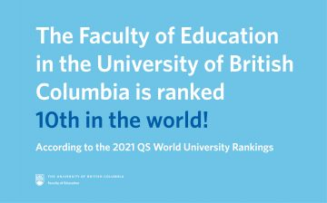 UBC Faculty of Education is ranked 10th in the world