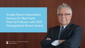 Acadia Alumni Association honours Dean Frank with 2021 Distinguished Alumni Award